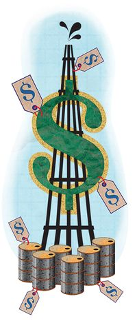 Illustration: Oil and taxes by Greg Groesch for The Washington Times