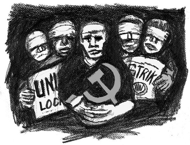 Illustration: Unions by John Camejo for The Washington Times