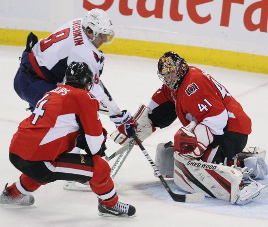 Washington Capitals' Alex Ovechkin had the go-ahead goal against the Ottawa Senators on Wednesday. The Caps won 5-3. (AP Photo/The Canadian Press,Fred Chartrand)