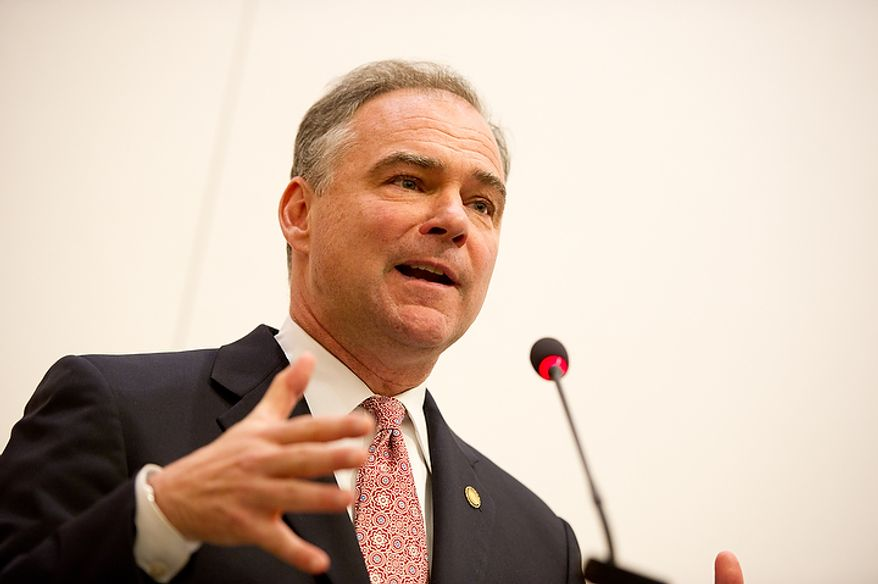 U.S. Senate candidate and Former Virginia governor Tim Kaine (D) speaks during the first debate of the 2012 campaign against U.S. Senate Candidate George Allen (R), also a Former Virginia governor, at the annual AP Day at the Virginia State Capitol, Richmond, VA, Wednesday, December 7, 2011. (Andrew Harnik / The Washington Times)