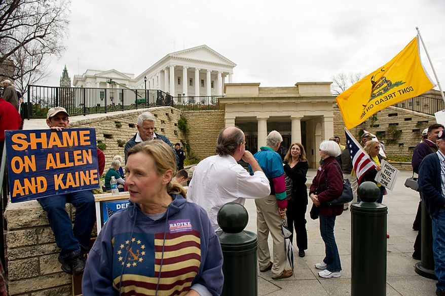 A group of Tea Party activists and supporters of U.S. Senate candidate Jamie Radtke (R) protest outside a debate between Former Virginia governors and current U.S. Senate candidates Tim Kaine (D) and George Allen (R), which third party candidates were excluded from participating at the Virginia State Capitol, Richmond, VA, Wednesday, December 7, 2011. (Andrew Harnik / The Washington Times)