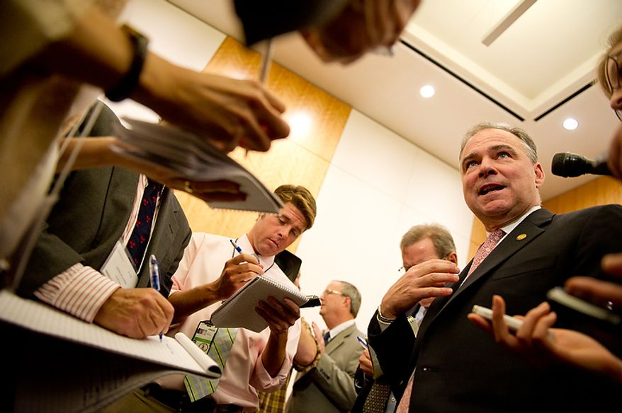 U.S. Senate candidate and Former Virginia governor Tim Kaine (D) speaks to reporters following the first debate of the 2012 campaign against U.S. Senate Candidate George Allen (R), also a Former Virginia governor, at the annual AP Day at the Virginia State Capitol, Richmond, VA, Wednesday, December 7, 2011. (Andrew Harnik / The Washington Times)