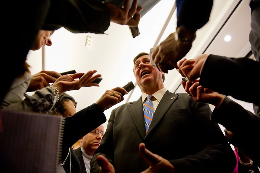 U.S. Senate candidate and Former Virginia governor George Allen (R)speaks to reporters following the first debate of the 2012 campaign against U.S. Senate Candidate Tim Kaine (D), also a Former Virginia governor, at the annual AP Day at the Virginia State Capitol, Richmond, VA, Wednesday, December 7, 2011. (Andrew Harnik / The Washington Times)