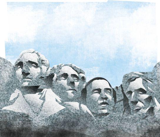 Illustration: Obama monument by Linas Garsys for The Washington Times