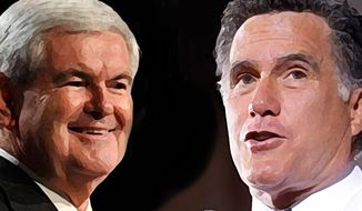 Illustration: Newt Gingrich, Mitt Romney
