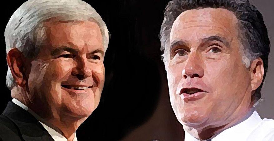 Illustration: Newt Gingrich, Mitt Romney