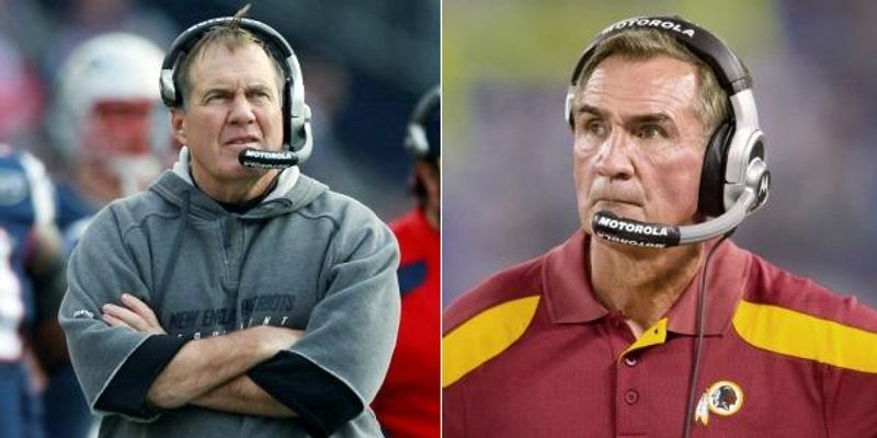 Mike Shanahan has 164 victories, second among active NFL coaches to Bill Belichick, who has 186. The two will meet Sunday when the Redskins and Patriots clash at FedEx Field. (Associated Press)/(Andrew Harnik/The Washington Times)