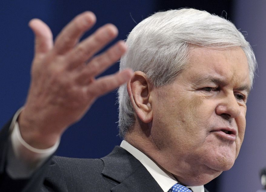 Republican presidential candidate and former House Speaker Newt Gingrich addresses the 2012 Republican Presidential Candidates Forum, hosted by the Republican Jewish Coalition, on Dec. 7, 2011, in Washington. (Associated Press)