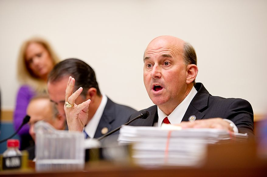 """Congressman Louie Gohmert (R-Tex.) questions U.S. Attorney General Eric Holder while he appears before the House Judiciary Committee to answer questions about """"Fast and Furious"""" a federal gun sting which allowed weapons to go to Mexican drug cartels through straw buyers, Thursday, December 8, 2011. (Andrew Harnik / The Washington Times)"""