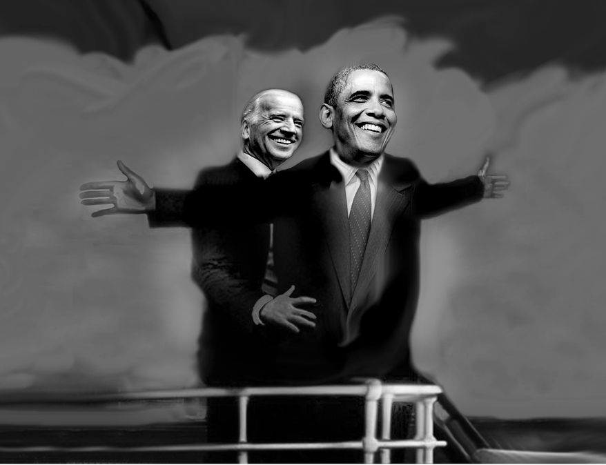 Illustration: Obama's Titanic by John Camejo for The Washington Times