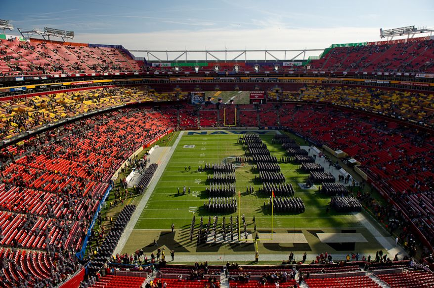 Army Cadets march on the field before the start of the Army-Navy game at Fedex Field, Landover, MD, Saturday, December 10, 2011. (Andrew Harnik / The Washington Times)