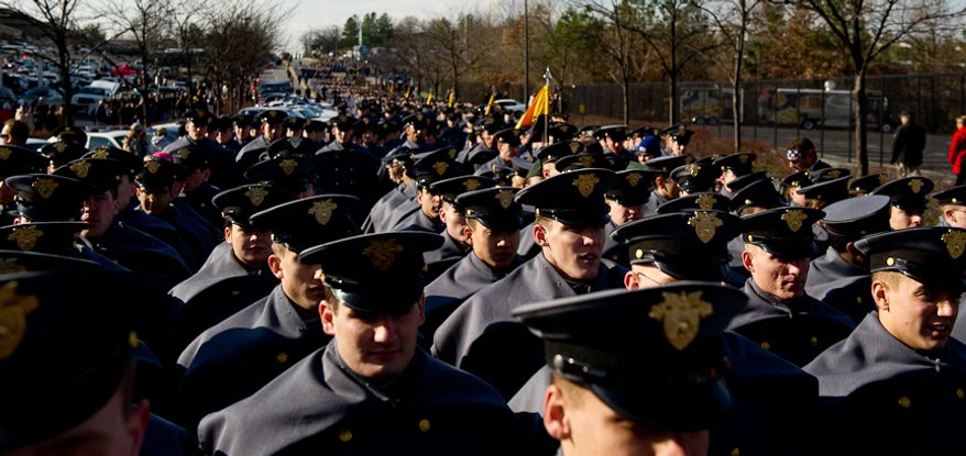 Army Cadets march into the stadium before the start of the Army-Navy game at Fedex Field, Landover, MD, Saturday, December 10, 2011. (Andrew Harnik / The Washington Times)