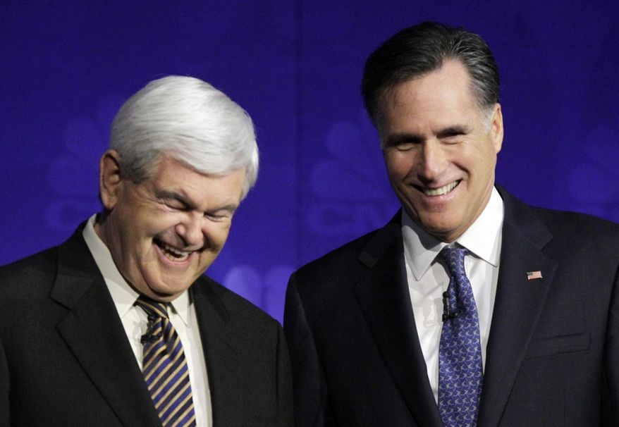 ** FILE ** In this Nov. 9, 2011, file photo Republican presidential candidates former House Speaker Newt Gingrich and former Massachusetts Gov. Mitt Romney laugh before a Republican presidential debate at Oakland University in Auburn Hills, Miss. (AP Photo/Paul Sancya, File)