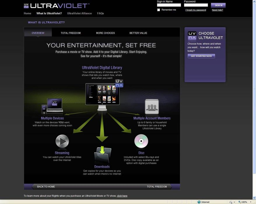 This screen image from the UltraViolet website illustrates how the system is supposed to work. Designed to encourage people to purchase movies rather than rent them or subscribe to a streaming service, UltraViolet didn't work as advertised. (Ultraviolet via Associated Press)