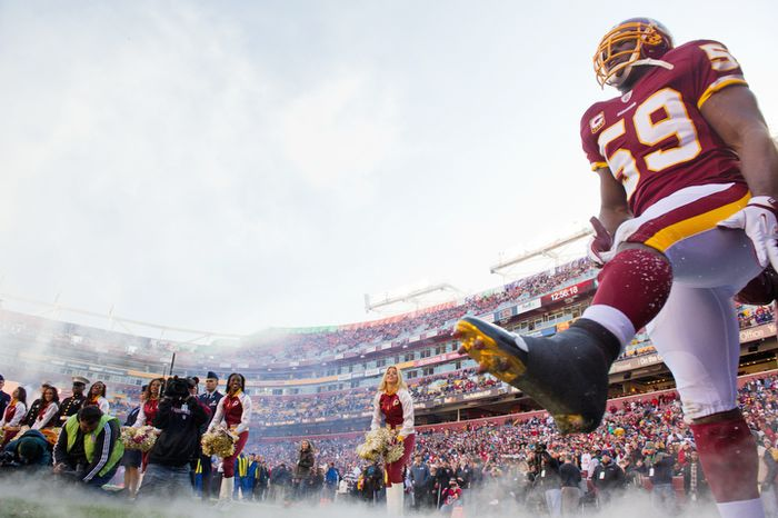 Washington Redskins inside linebacker London Fletcher (59) comes onto the field before the game against the New England Patriots in Landover, MD, Sunday, December 11, 2011. (Andrew Harnik / The Washington Times)