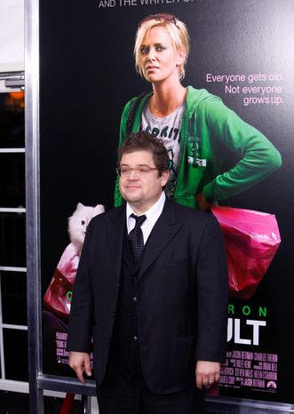 """Patton Oswalt at Thursday's New York premiere of """"Young Adult,"""" in which he co-stars with Charlize Theron. He insists the love scene was a """"nightmare."""" (Associated Press)"""