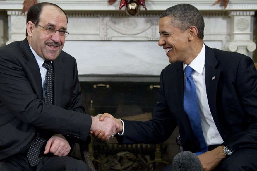 President Obama meets with Iraqi Prime Minister Nouri al-Maliki at the White House on Dec. 12, 2011. (Associated Press)