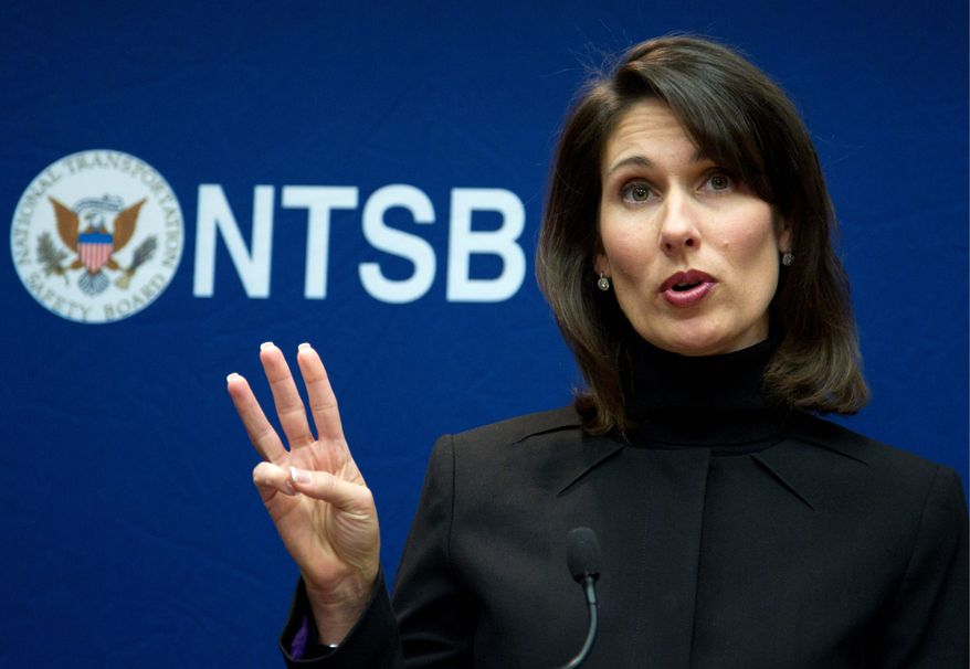 National Transportation Safety Board Chairwoman Deborah Hersman discusses in Washington on Tuesday the NTSB's recommendation to ban all cellphone use by drivers except for emergencies. (Associated Press)