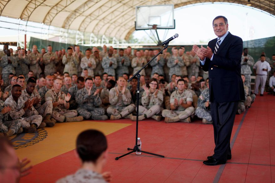 Defense Secretary Leon E. Panetta speaks to military personnel during his visit to Camp Lemonnier in Djibouti on Tuesday. Mr. Panetta arrived in Afghanistan later in the day. He will also visit Iraq, Libya and Turkey. (Associated Press)