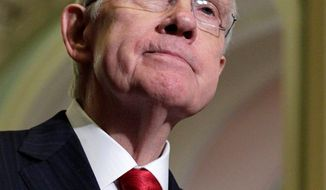 """Majority Leader Harry Reid and fellow Democratic senators came in for criticism from House Speaker John A. Boehner, who said, """"The Democrats who run Washington have a responsibility to act."""" (Associated Press)"""