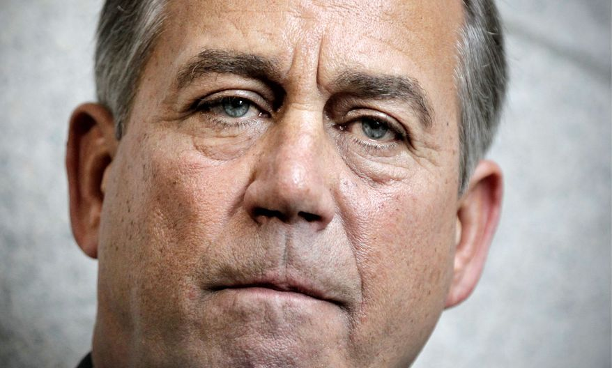 "CHALLENGE: ""The Senate can take up our bill and amend it, or it can pass its own bill. But the Democrats who run the Senate can't continue to shirk their responsibility to govern,"" says House Speaker John A. Boehner. (Associated Press)"