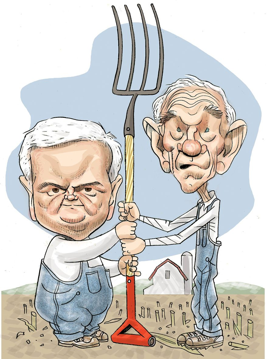 Illustration: Newt Gingrich and Ron Paul in Iowa by Alexander Hunter for The Washington Times