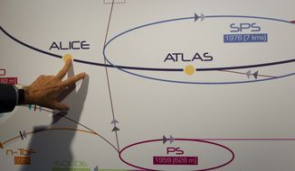 **FILE** A physicist explains the Atlas experiment on a board at the European Center for Nuclear Research outside Geneva on May 20, 2011. The illustration shows how a Higgs boson, an elusive sub-atomic particle, may look like in Atlas. (Associated Press)