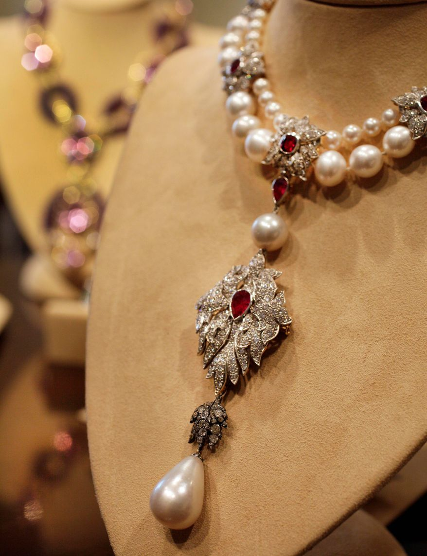 """""""La Peregrina,"""" an early 16th century pearl, ruby and diamond necklace. a gift from Richard Burton to Elizabeth Taylor in 1969, sold at an auction this week of Taylor's jewelry for $18.8 million. (Associated Press)"""