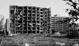 A building at Khobar Towers in Dhahran, Saudi Arabia, was blasted by a car bomb in June 1996, killing 19 U.S. airmen and injuring hundreds more. (Associated Press)