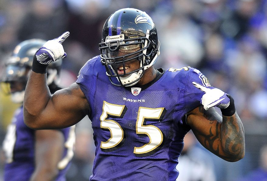 Baltimore Ravens outside linebacker Terrell Suggs dances during a break in play late in the second half against the Indianapolis Colts in Baltimore, Sunday, Dec. 11, 2011. Suggs had three sacks and forced three fumbles in Baltimore's 24-10 win.(AP Photo/Gail Burton)