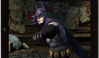 A very serious Caped Crusader uses his Batarang to fight bad guys in the iPad game Batman: Arkham City Lockdown.