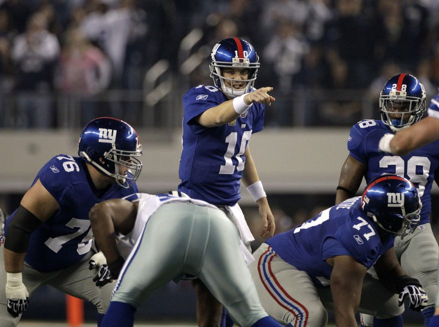 New York Giants quarterback Eli Manning has thrown for 4,105 yards and 25 touchdowns (against 12 interceptions) this season. (AP Photo/Tony Gutierrez)