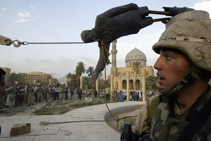 "In this April 9, 2003 file photo, Iraqi civilians and U.S. soldiers pull down a statue of Saddam Hussein in downtown Baghdad, Iraq. In the beginning, it all looked simple: topple Saddam Hussein, destroy his purported weapons of mass destruction and lay the foundation for a pro-Western government in the heart of the Arab world. Nearly 4,500 American and more than 100,000 Iraqi lives later, the objective now is simply to get out _ and leave behind a country where democracy has at least a chance, where Iran does not dominate and where conditions may not be good but ""good enough."" (AP Photo/Jerome Delay, File)"
