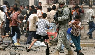 "In this May 28, 2007 file photo, a young boy seeks shelter behind a soldier with the U.S. Army's 82nd Airborne division after gunshots rang out at the scene where just a few minutes earlier a suicide car bomber blew himself up in a busy commercial district in central Baghdad. killing at least 21 people and wounding 66. In the beginning, it all looked simple: topple Saddam Hussein, destroy his purported weapons of mass destruction and lay the foundation for a pro-Western government in the heart of the Arab world. Nearly 4,500 American and more than 100,000 Iraqi lives later, the objective now is simply to get out _ and leave behind a country where democracy has at least a chance, where Iran does not dominate and where conditions may not be good but ""good enough."" (AP Photo/Khalid Mohammed, File)"