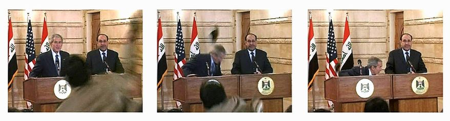 "In this series of Dec. 14, 2008  file images made from APTN video, Muntadar al-Zeidi, a correspondent for Al-Baghdadia television, foreground center, throws a shoe at U.S. President George W. Bush, background left, during a news conference in Baghdad with Iraq Prime Minister Nouri al-Maliki, background right. The man threw two shoes at Bush, one after another, and was then taken into custody. Neither man was hit. In Iraqi culture, throwing shoes at someone is a sign of contempt. In the beginning, it all looked simple: topple Saddam Hussein, destroy his purported weapons of mass destruction and lay the foundation for a pro-Western government in the heart of the Arab world. Nearly 4,500 American and more than 100,000 Iraqi lives later, the objective now is simply to get out _ and leave behind a country where democracy has at least a chance, where Iran does not dominate and where conditions may not be good but ""good enough."" (AP Photo/APTN, File)"