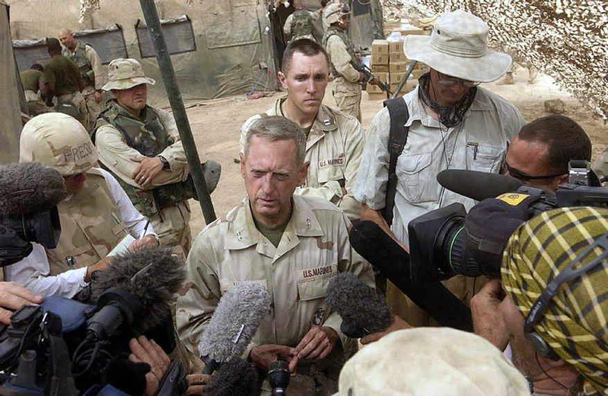 Maj. Gen Jim Mattis tells media at the camp of CSSG 11 ( Combat Service Support Group ) near Baghdad that the 1st Marine Division crossed into Baghdad over blown bridges over the Diyala River after 8th ESB spanned the damaged sections with bridging equipment in Baghdad, Iraq Tuesday, April 8, 2003. ( J.M. Eddins Jr. / The Washington Times )
