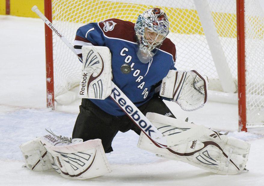 Semyon Varlamov went 26-24-3 in his first season with the Colorado Avalanche. (AP Photo/Barry Gutierrez)