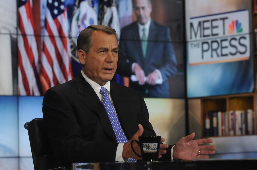 """In this Sunday, Dec. 18, 2011, photo provided by NBC News, Speaker of the House, Rep. John Boehner, R-Ohio, appears on NBC's """"Meet the Press"""" in Washington. House Republicans said Sunday they oppose a bipartisan, Senate-approved bill that extends a payroll tax cut and jobless benefits for just two months and said congressional bargainers need to write a new version lasting a longer time. """"It's pretty clear I and our members oppose the Senate bill,"""" Boehner said, adding, """"I believe two months is just kicking the can down the road."""" (AP Photo, NBC News, William B. Plowman)"""