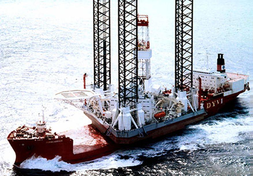 The oil-drilling platform Kolskaya is seen in the Sea of Okhotsk off Russia's Far East coast in an undated photograph. (AP Photo/Arktikmorneftegazrazvedka)