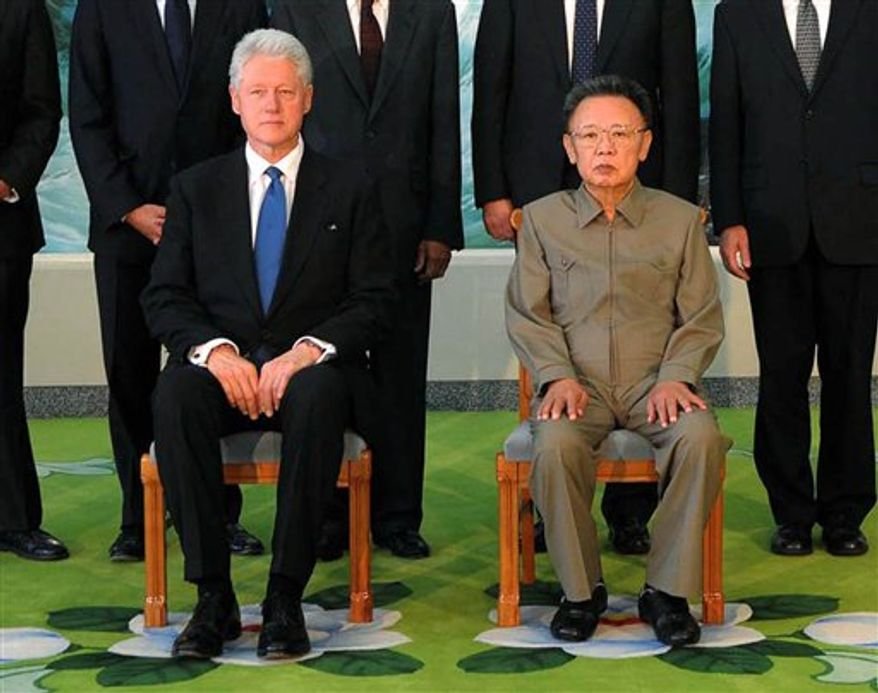 ** FILE ** In this Aug. 4, 2009, photo, former U.S. President Bill Clinton (left) meets with North Korean leader Kim Jong-il in Pyonggyang, North Korea. (AP Photo/Korean Central News Agency via Korea News Service)