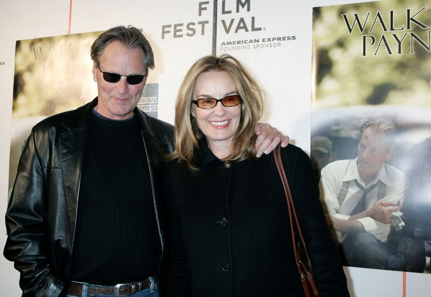 """FILE- This April 26, 2006 file photo shows Sam Shepard and Jessica Lange as they arrive to the premiere of his new movie, """"Walker Payne,"""" during the Tribeca Film Festival in New York. Jessica Lange and Sam Shepard have separated after nearly 30 years together. A publicist for Lange confirmed the split Monday. People magazine first reported the separation, reporting that the two concluded their relationship almost two years ago. (AP Photo/Diane Bondareff, FILE)"""