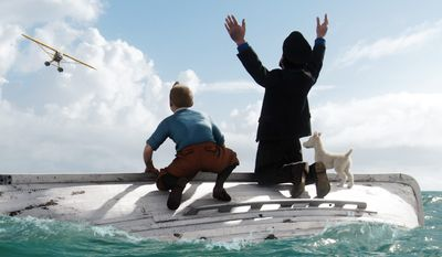 """In a scene from """"The Adventures of Tintin,"""" Tintin (left), voiced by Jamie Bell; Captain Haddock, voiced by Andy Serkis; and Snowy await rescue. The film has been nominated for a Golden Globe for best animated feature. (Associated Press)"""