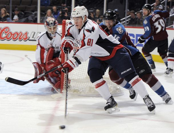 Washington Capitals 20-year-old defenseman Dmitry Orlov has five assists in his first 18 NHL games. (AP Photo/Jack Dempsey)