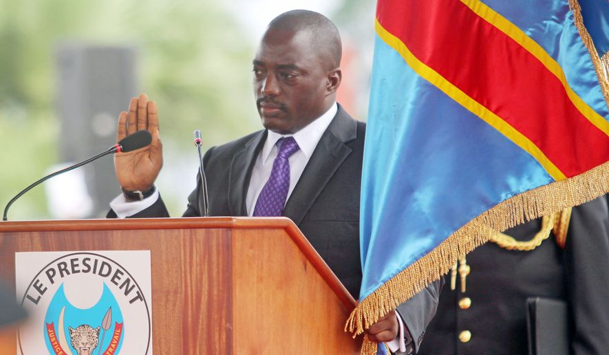 Congolese President Joseph Kabila took the oath of office for a second five-year term in 2011. He was supposed to step aside when his second full term ended in December, but elections have been put on hold because of political squabbling and another outbreak of violence. (Associated Press/File)