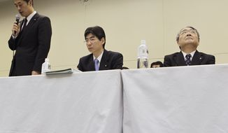 "Tokyo Electric Power Co. President Toshio Nishizawa, right, looks up as Japan's Nuclear Crisis Minister Goshi Hosono, left, speaks during a press conference at the headquarters of TEPCO, the operator of the tsunami-damaged Fukushima Dai-ichi nuclear power plant, in Tokyo Friday, Dec. 16, 2011, shortly after Japan's prime minister announced that the nuclear plant has achieved a stable state of ""cold shutdown,"" a crucial step toward the eventual lifting of evacuation orders and closing of the plant. (AP Photo/Hiro Komae)"