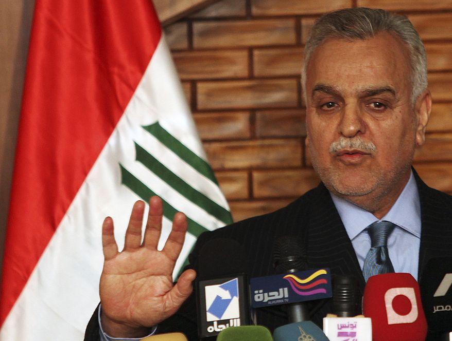 ** FILE **  Iraqi Vice President Tariq al-Hashemi speaks during a news conference in Baghdad in December 2009. (AP Photo/Karim Kadim)