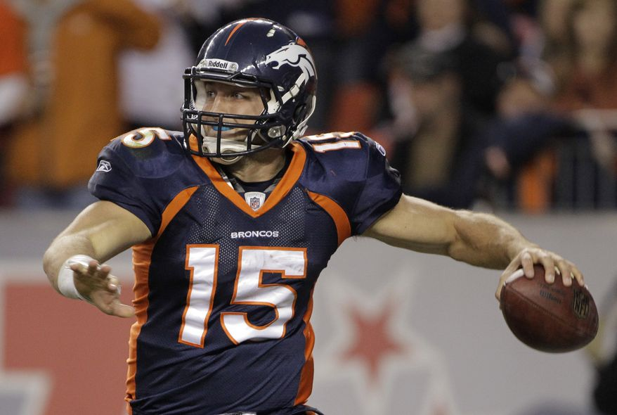 Denver Broncos quarterback Tim Tebow has thrown for 1,484 yards and 11 touchdowns with a 48.6 percent completion percentage this season. He's also rushed for 610 yards and five touchdowns. (AP Photo/Barry Gutierrez)