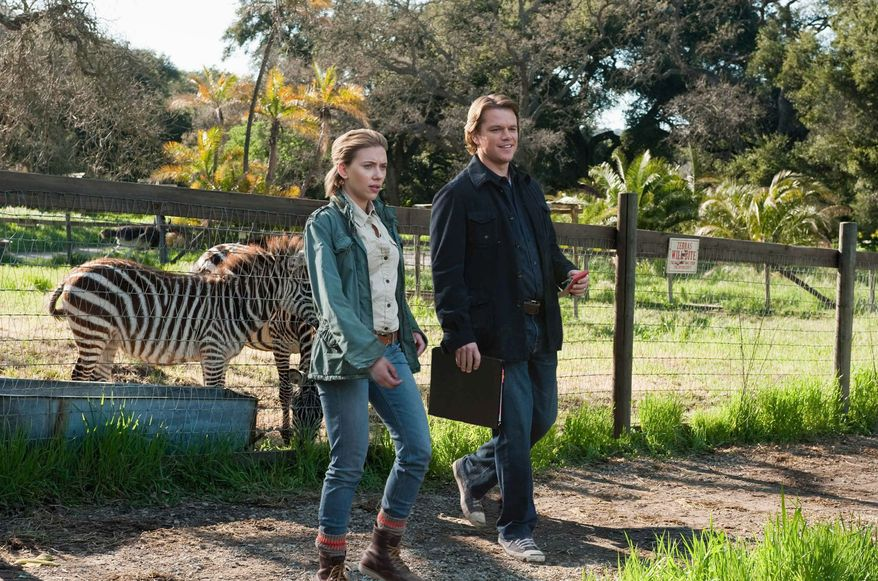"""Matt Damon plays a widowed man who moves with his children to the country where he takes over a zoo and meets a zookeeper played by Scarlett Johansson in """"We Bought a Zoo."""" (20th Century Fox via Associated Press)"""