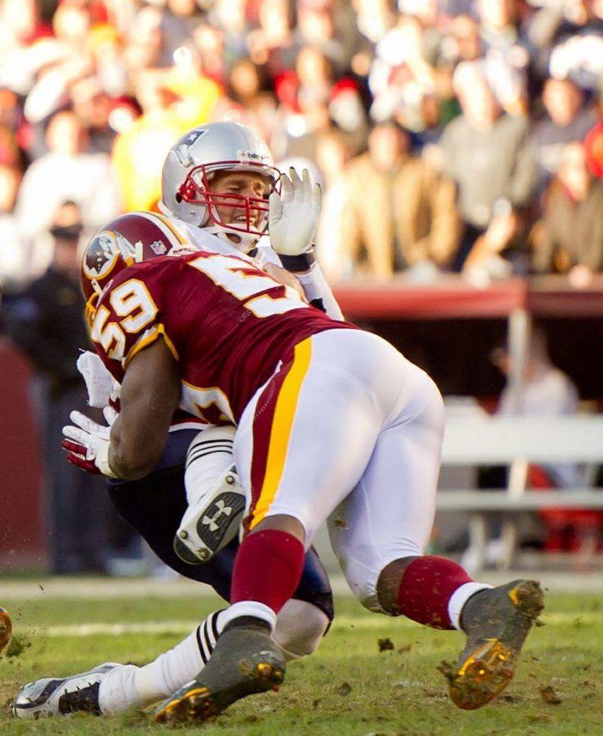 Washington Redskins inside linebacker London Fletcher has 146 tackles, three force fumbles and two interceptions this season. (Andrew Harnik / The Washington Times)