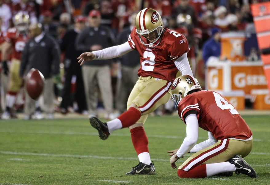 San Francisco 49ers' David Akers kicks a 38-yard field goal during the second quarter against the Pittsburgh Steelers in San Francisco on Monday, Dec. 19, 2011. Akers broke Jerry Rice's single season franchise scoring record on the kick. (AP Photo/Marcio Jose Sanchez)